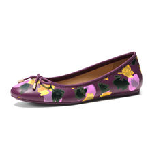 Latest design hot selling wholesale flower pattern purple PU material round toe belly ladies rubber soles flat shoes