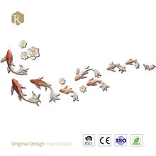 9pcs 3D Resin Fish Arts Wall Murals Hanging Background DIY Wall Painting for Living Room