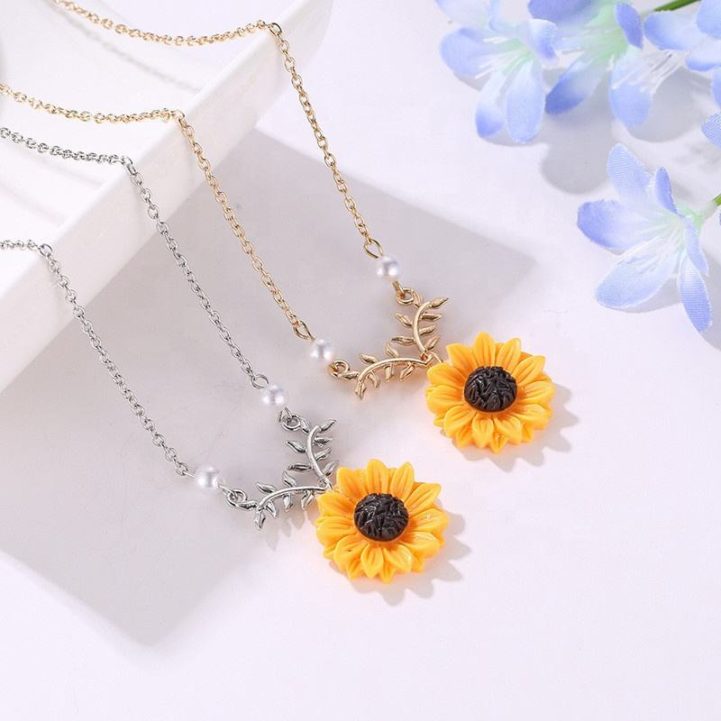 designs artificial cheap wholesale sunflower pearl pendant necklace