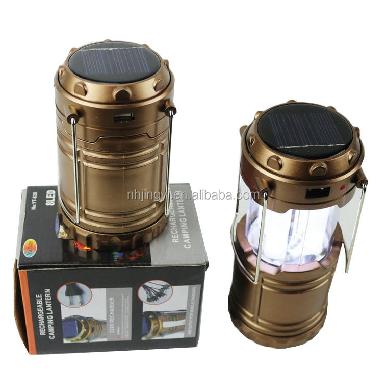 water resistant folding rechargeable emergency flashlight cell phone charge led solar multifunctional camping lantern