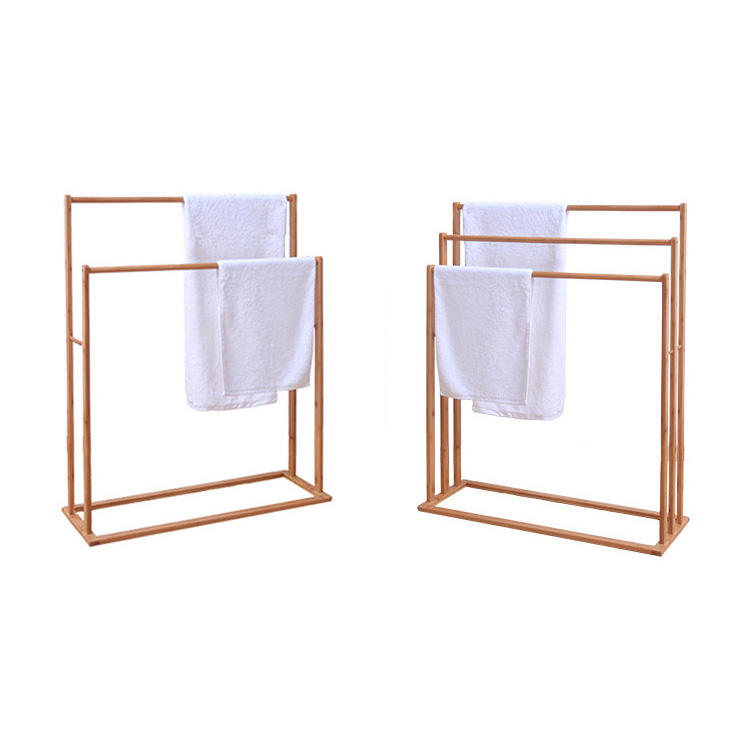 Traditional Floor Standing special bamboo bath towel rack/towel shelf