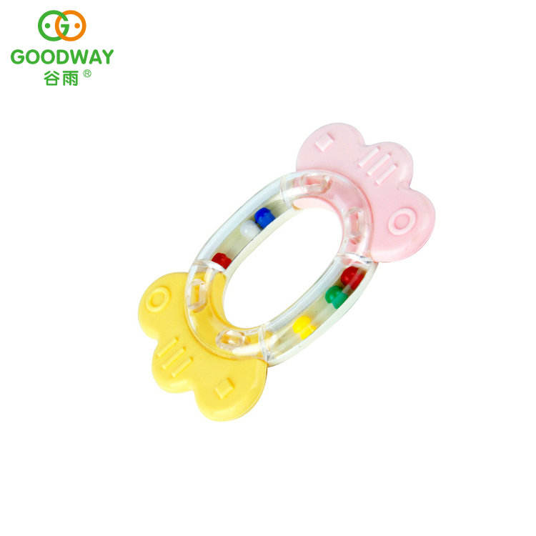 plastic rattle set baby ring toy with 8 different shapes
