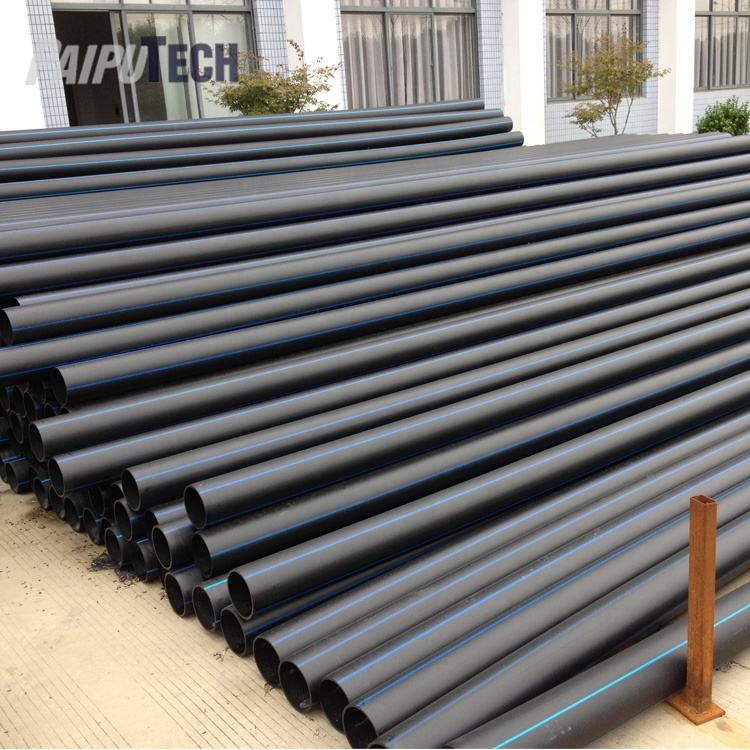 Small diameter Full Form Black PN10 PE100 HDPE Pipe for Water Supply with Blue Line