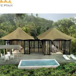Hotel accommodation tents glamping luxury tents with beds and bathroom