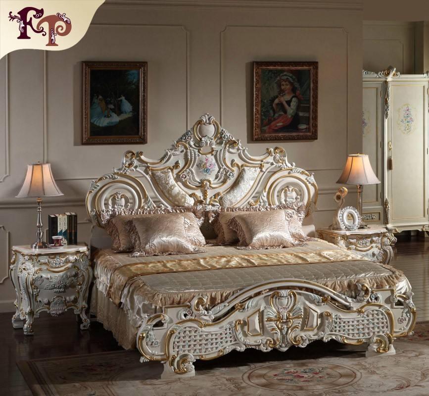 2016 Le plus populaire Europe style de meubles en caoutchouc, de luxe <span class=keywords><strong>rembourrés</strong></span> solide sculpture sur bois véritable lit en cuir