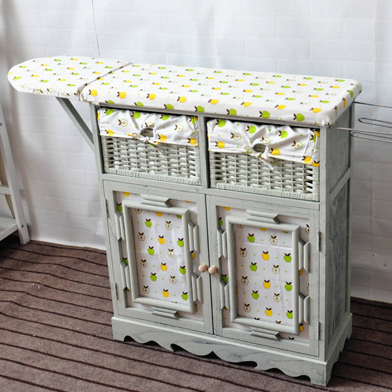 Wooden cabinet with top folding ironing board