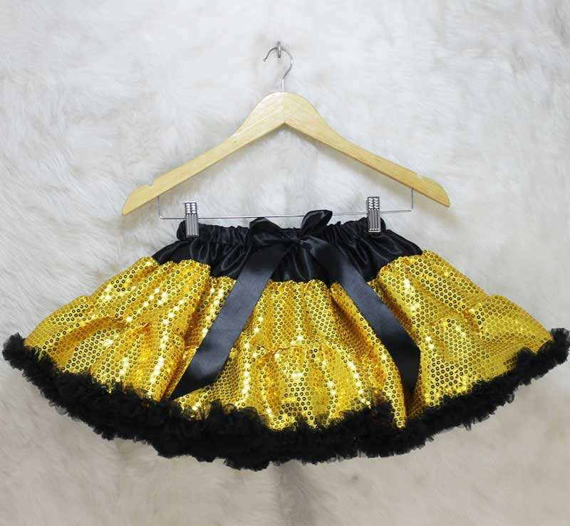 Factory Directly Gold Sequin Kids Girls Tutu Pettiskirt With Black Ruffle