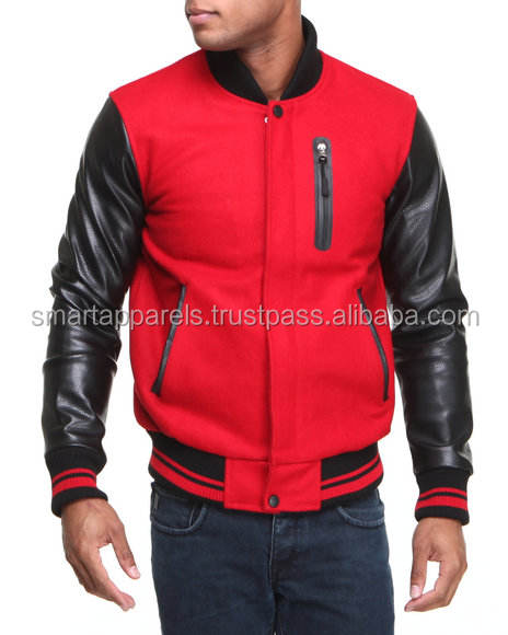 Custom Black body with Blue sleeve hooded varsity jackets/ cotton fleece hooded varsity jackets/ letterman