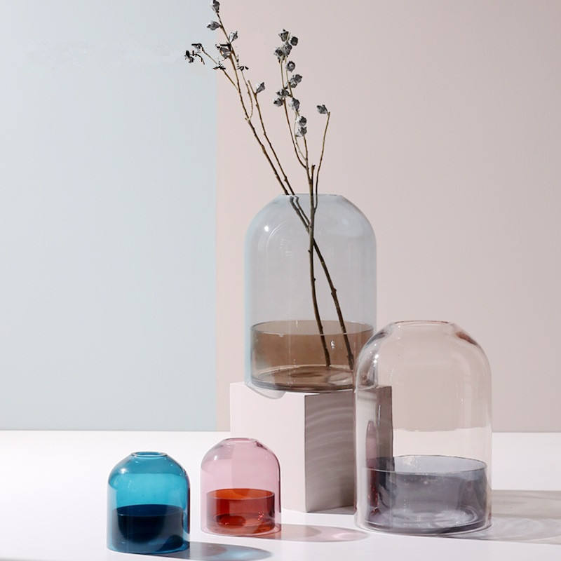 Danmark Pink Blue Brown Colour Cylinder Glass Flower Vase with Dome for Home Decor Office Decor