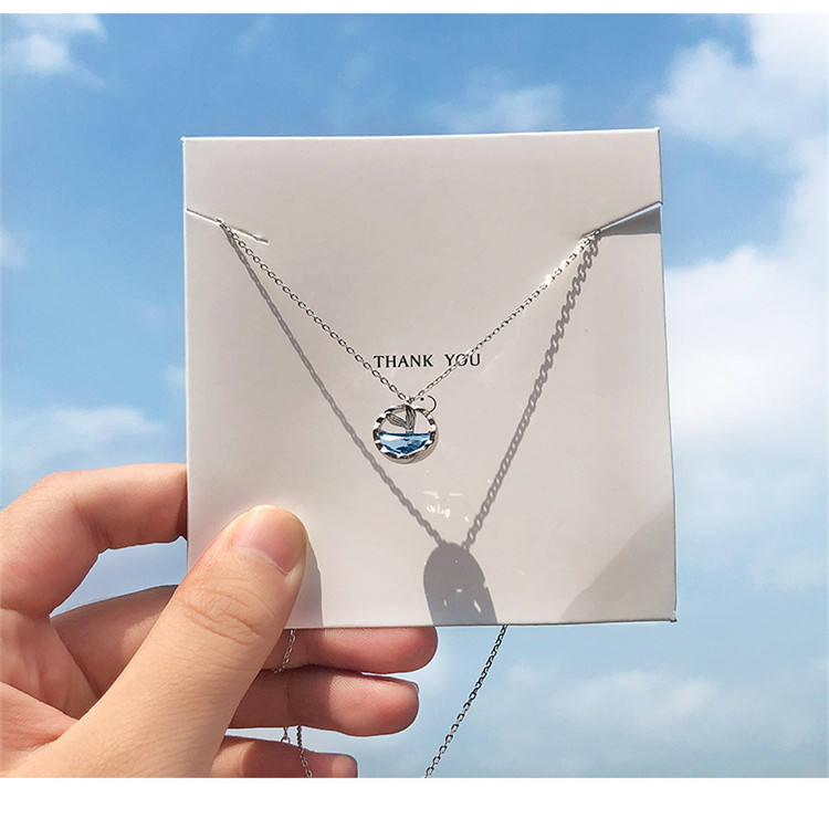 Sterling silver mermaid tear necklace mermaid clavicle chain student Japan and South Korea simple creative small fresh necklace