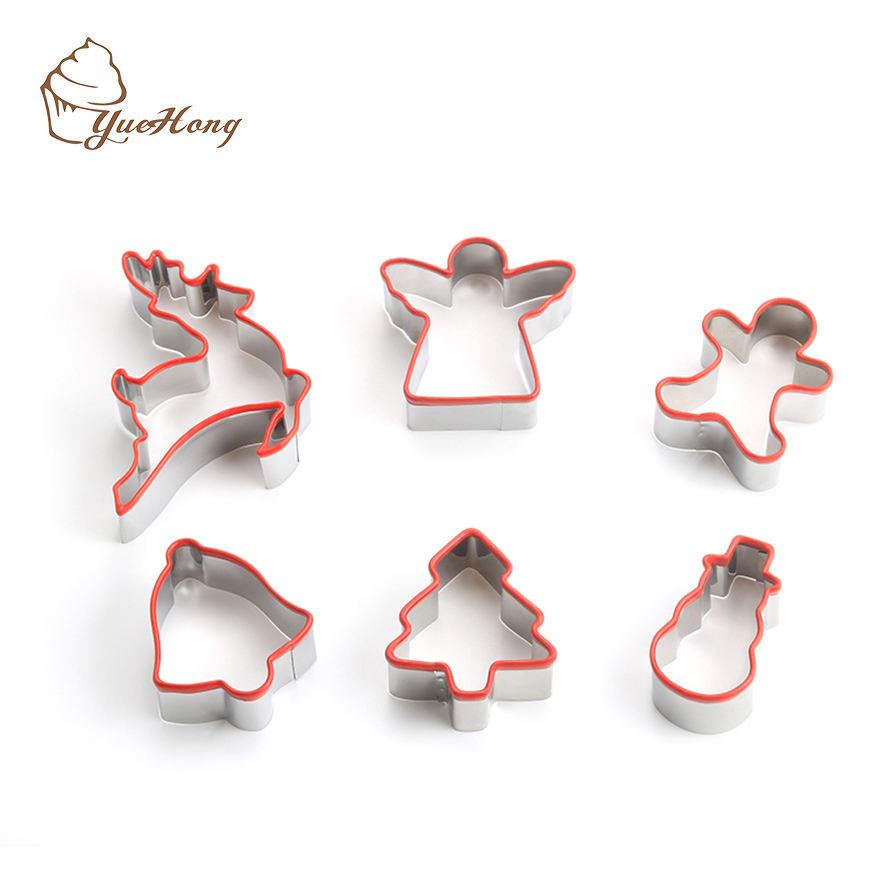 Stainless Steel Christmas Cookie Cutters with silicone Grip, Assorted Shapes Biscuit Molds