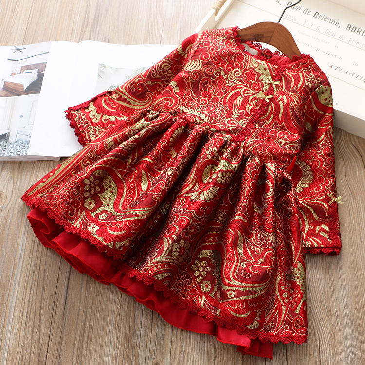 Years beautiful girl quilted jacquard cheongsam dress red Tang suit princess dress
