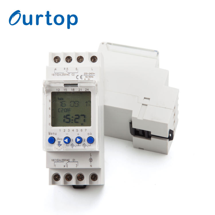 OURTOP 220-240VAC 50/60Hz Time Control Switch Programmable Electronic Timer