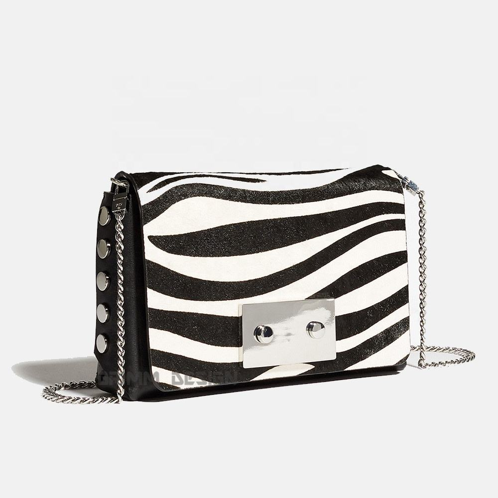 Vogue popular handbag designer ladies female shoulder crossbody purse print zebra bag