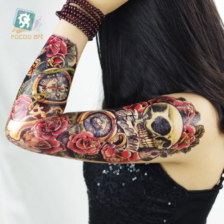 AC-023/2016 Non-Toxic Flower Super Big Tattoos Sticker Fake Horror Skull Gun Full Arm Temporary Body Tattoo For Women