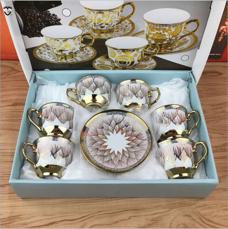European plating promotional porcelain coffee mug electroplated ceramic tea cup sets and saucer wholesale 80ml