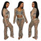 Camouflage Clothing Set For Womens Hollow Out Crochet Long Sleeve Crop Tops+Pants 2pcs Autumn Fashion Womens Clothes
