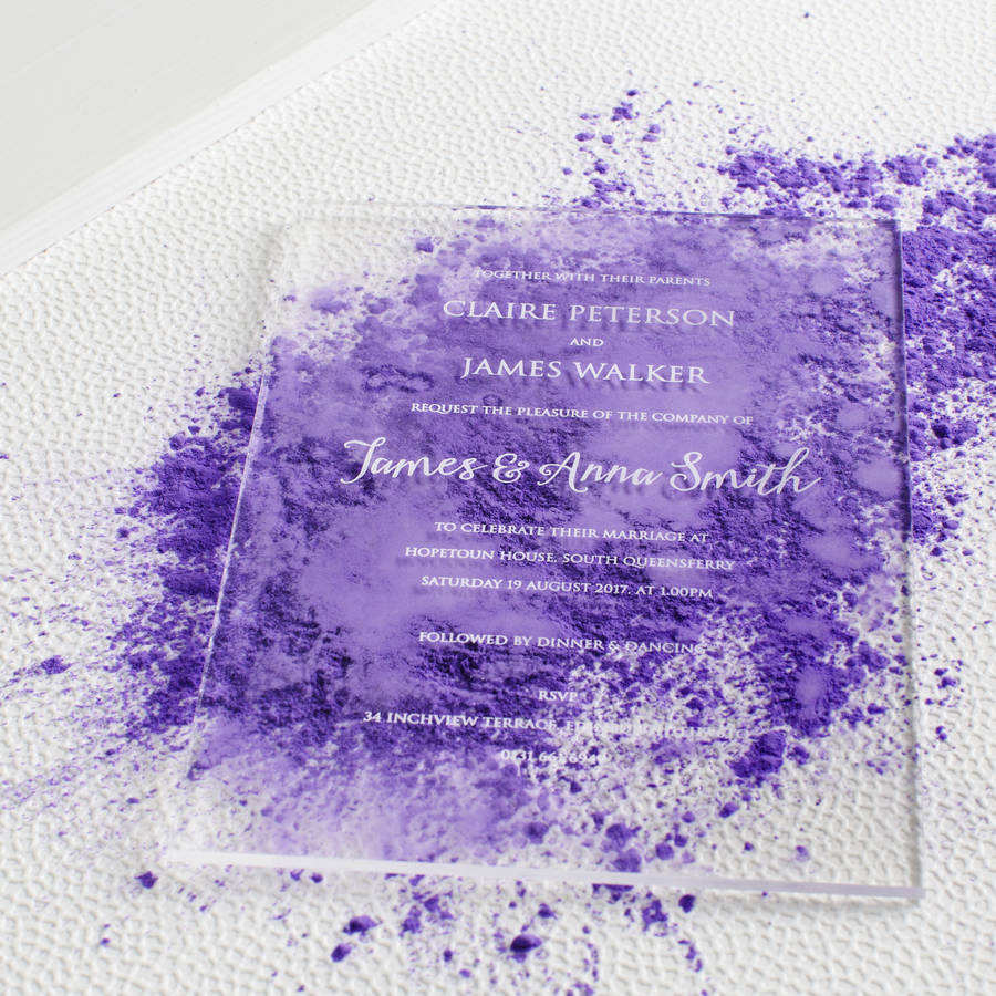 Fancy acrylic wedding invitation card