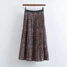 Z90127B 2017 European latest wholesale leopard printing pleated skirts for elegant ladies