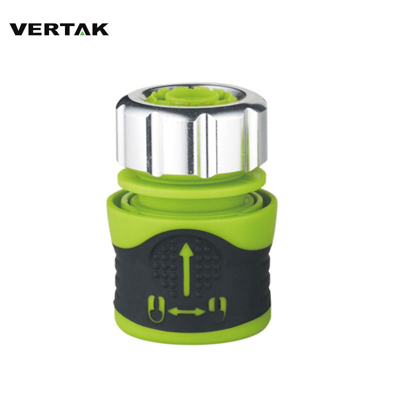 "VERTAK garden hose accessories soft touch double color 1/2"" metal cap plastic hose connector with lock function"
