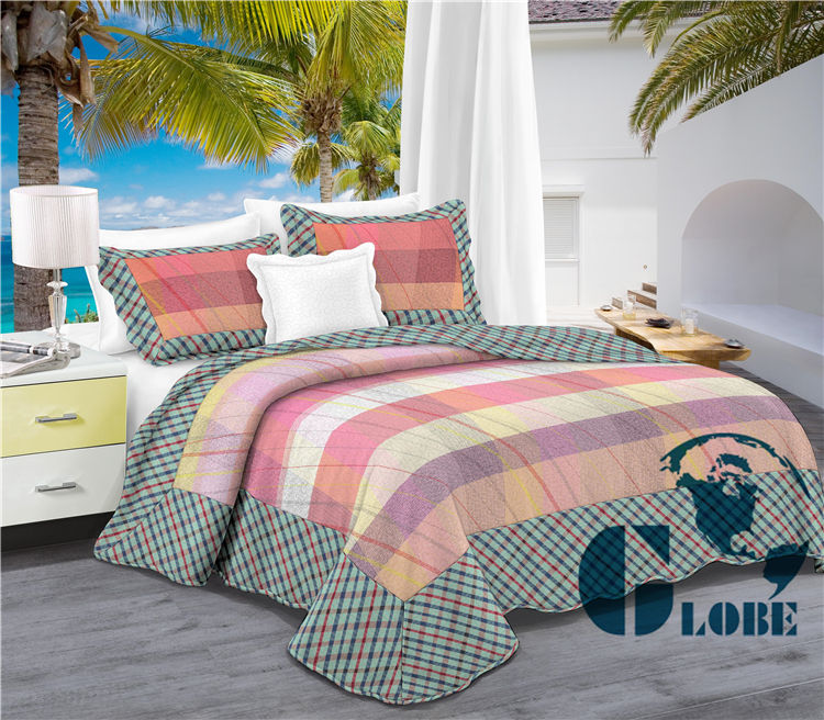 polyester ultrasonic patchwork quilt in double size made in China
