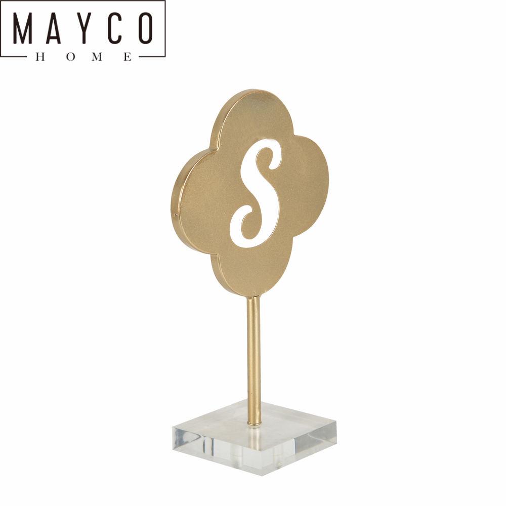 Mayco modernos accesorios de decoración para el hogar oro 's' bloque carta acrílico Base
