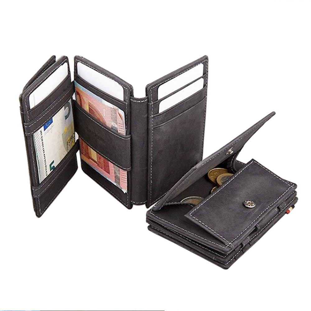 hot selling Men Crazy Horse trifold Leather ID Card Magic Wallet With small coin pocket