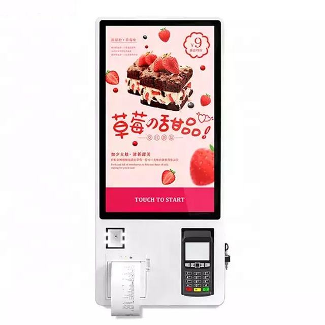 KFC WIFI 32 inch Wall Mountable Food Ordering Machine Touch Screen Kiosk Providers With POS and Ticket Printer
