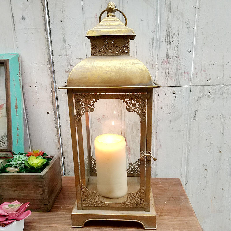 Luckywind Square Vintage Gold Metal Glass Wholesale Moroccan Lantern