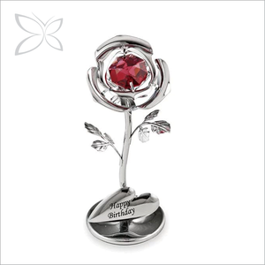 Crystocraft Metal Red Rose Flores Decorado com Cristais de Swarovski Favor Do Casamento Para Convidado