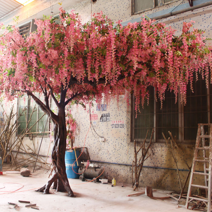 Pink artificial wisteria flower trees