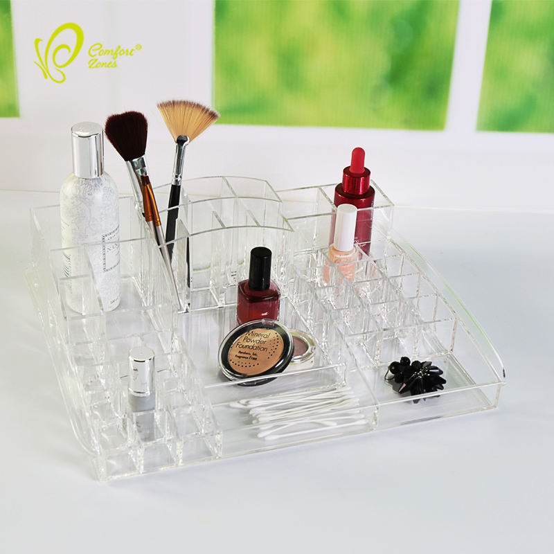 Multi-tier clear long life time acrylic make up storage box organizer