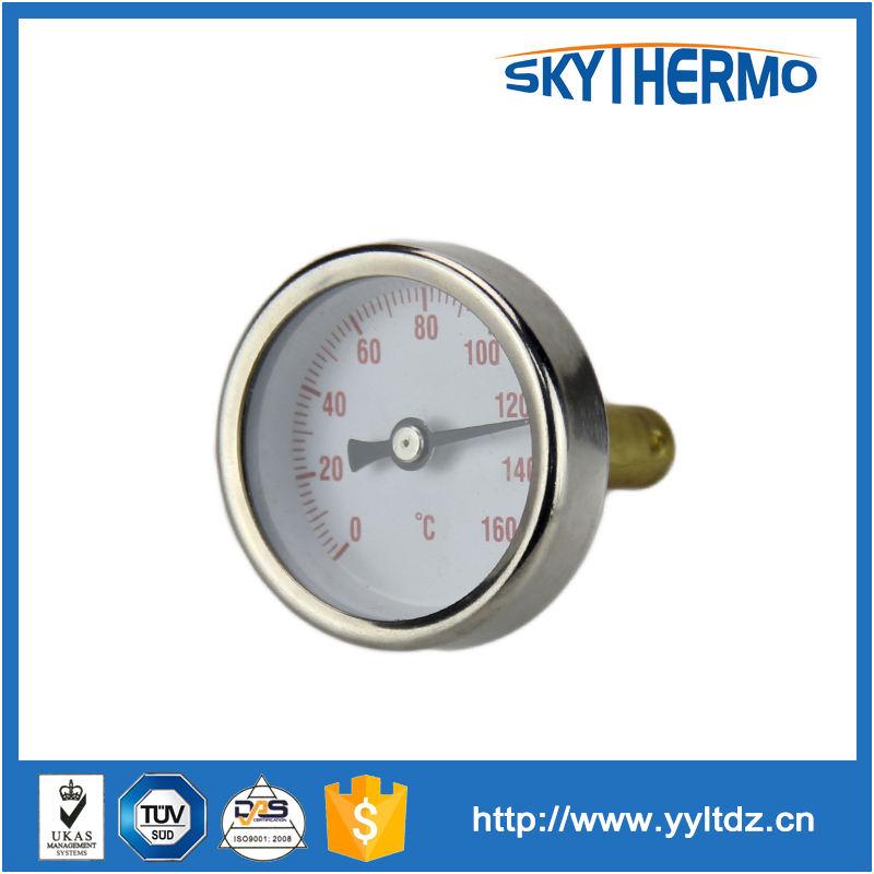 304 material de aço inoxidável completa de teste de água da caldeira termômetro bimetálico 120c