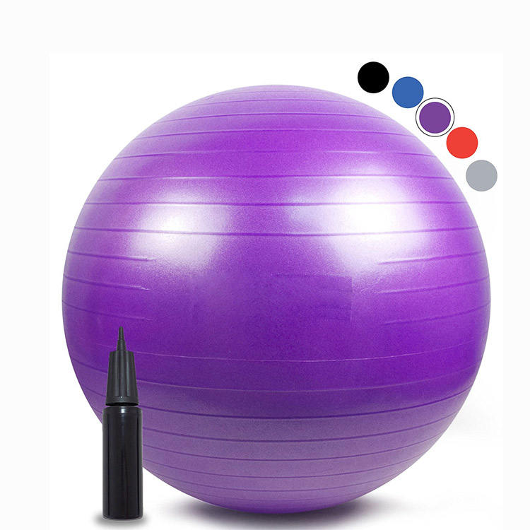 Custom Printed 65cm Colorful Rainbow Pvc Fitness Sport Exercise Massage Pilates Anti Burst Yoga Ball Set With Pump