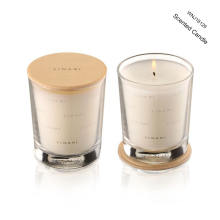 scented soy wax candle with wooden lid in glass jar with high end gift box