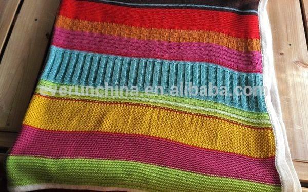 50db23 100% de algodón tejido de punto en una manta de colores de temporada con la línea <span class=keywords><strong>vinculante</strong></span>