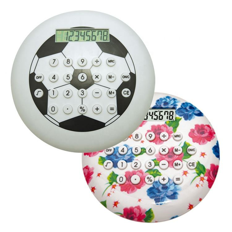 Large Size Promotional Kid's Fancy Gifts Football Design Round 8-Digit Electronic Calculator
