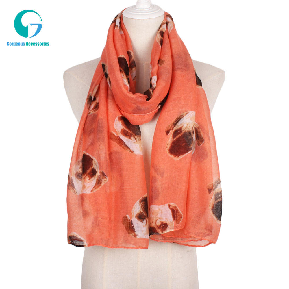 Very Attractive Voile Fabric Viscose Material Dog Print Scarf