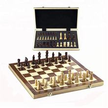 "15"" Wooden magnetic felted chess game set, wooden chess, wooden chess set board game interior storage chess pieces"