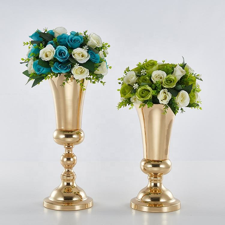 Wedding decoration gold trumpet metal round flower vase
