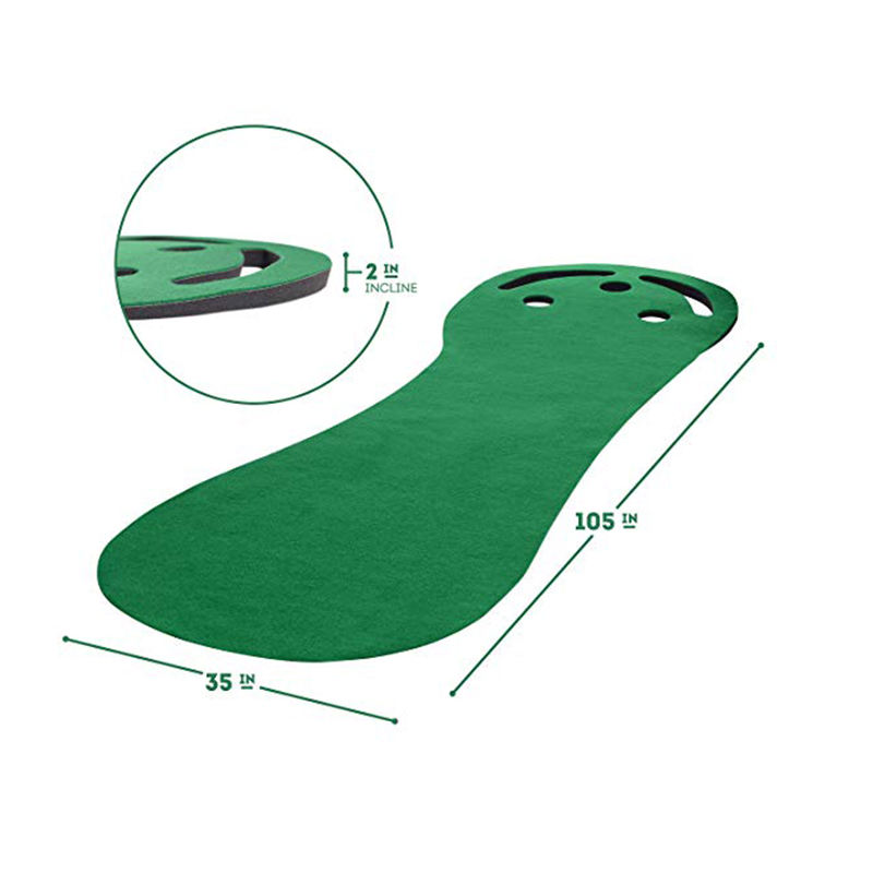 Niere-förmigen gummi basis golf putting matte innen mini golf putting green