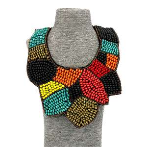 Fashion Jewelry Girls Long Resin Multi-Coloured Beaded Bib Statement Necklaces For Women