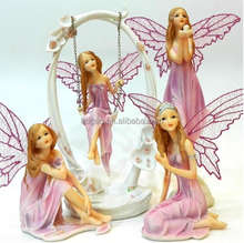 oem polyresin pink fairy lady angel with wings wedding decor