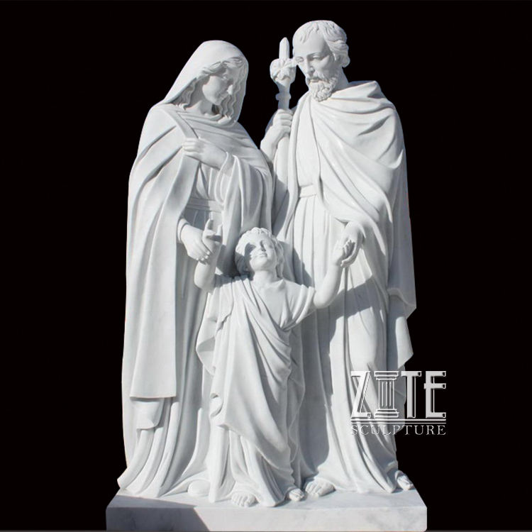 White marble holy family statue sculpture for church decoration