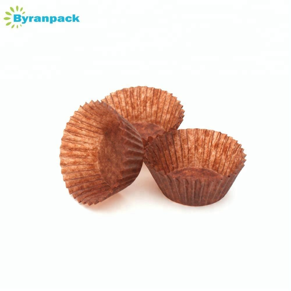 Brown translucent NORDIC Europe greaseproof paper baking cups cupcake liners 40gsm 2inches bottom