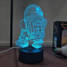 R2-D2 Droid Night Light 3D LED illusion 7 Color Touch Button Desk Lamp Room Decor Light