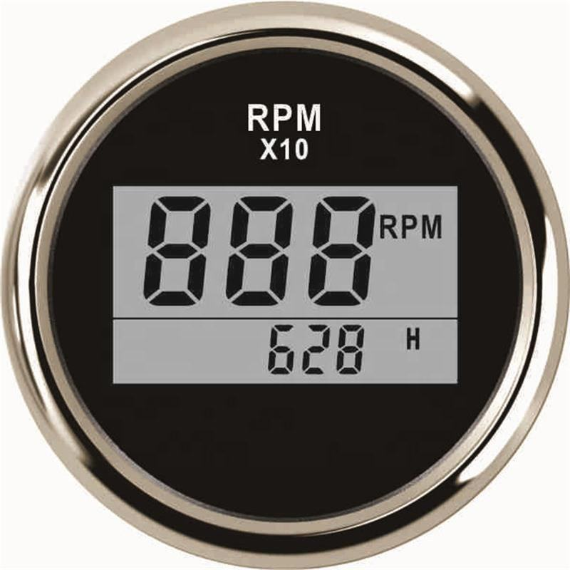High Quality 52mm Digital RPM Gauge Tachometer With LED Hourmeter 0-9990RPM