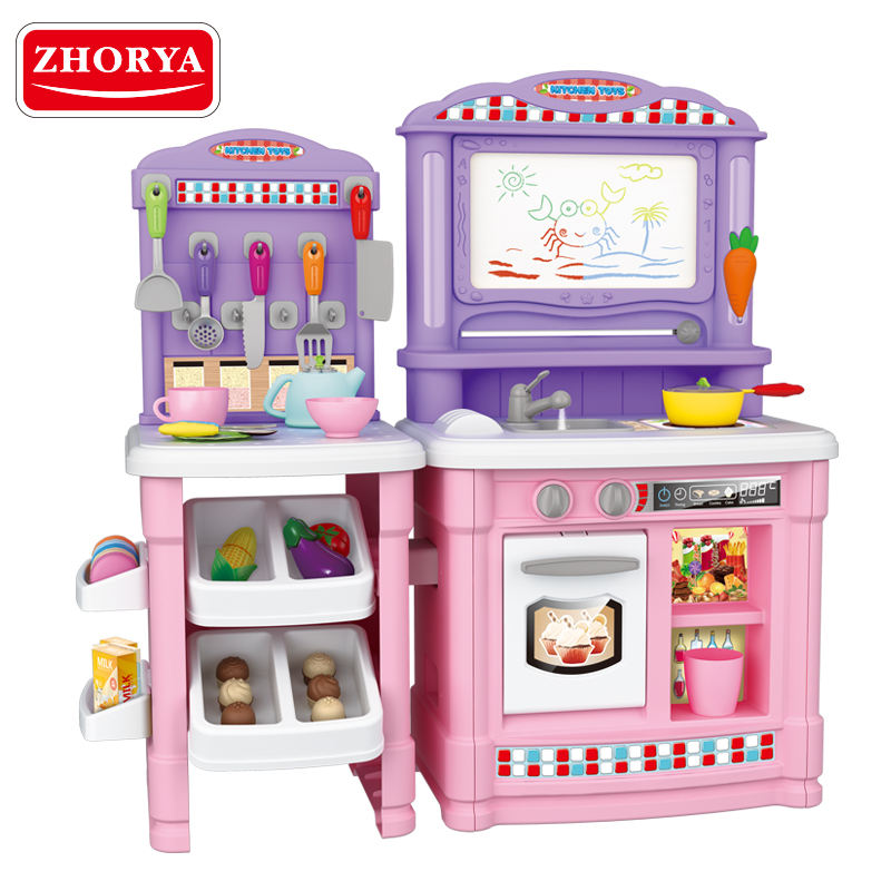 zhorya new plastic pretend kids play kitchen play set toy with magnetic writing board and real water output