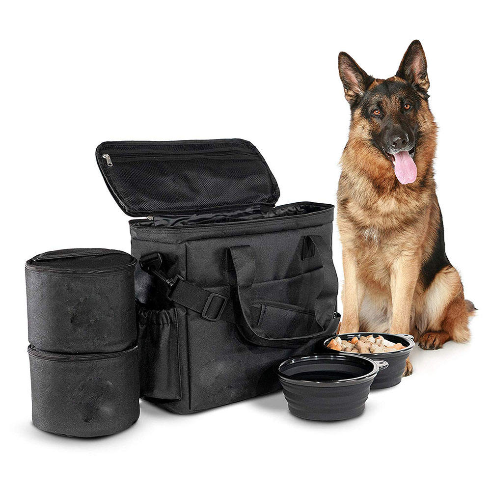 Dog Travel Bag Airline Approved Travel Set Stores Your Dog Accessories Food Storage Containers Collapsible Dog Bowls