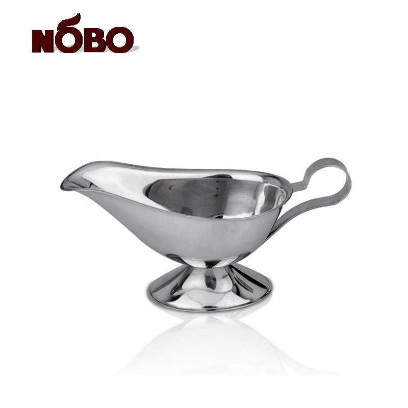 Multifunction Classy Custom Gravy Serving Tapered Lip Spout Saucier Gravy Boat Sauce Boats with Handle